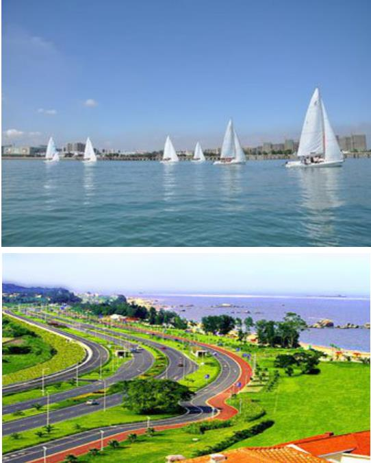 海水组成的全世界最美的风光赛道;对面金门岛若隐若现,与台湾一水之隔